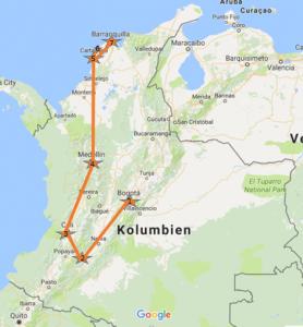 Kolumbien_Karte_Meine_Reise, Kolumbien Tourismus
